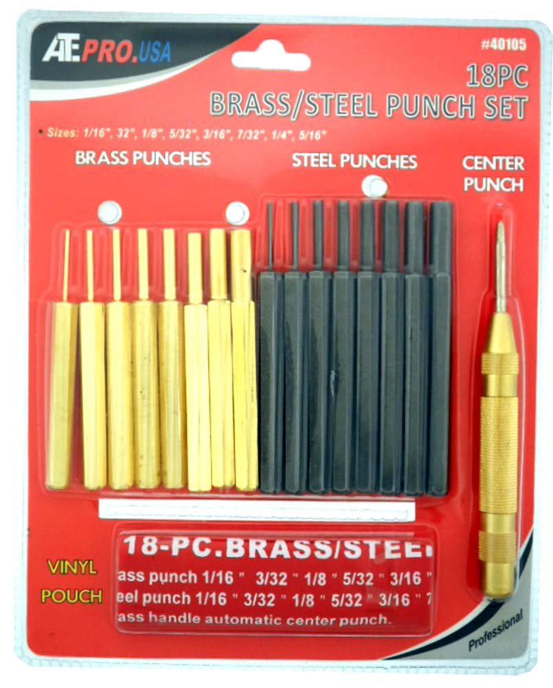 ToolUSA Ate Pro. Usa Brass/steel Punch Set: TJ2117M-YT