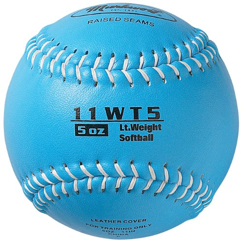 Leather Softball 11' Synthetic (Markwort Color Coded Weighted 11-Inch Softball (5-Ounce, Columbia Blue))