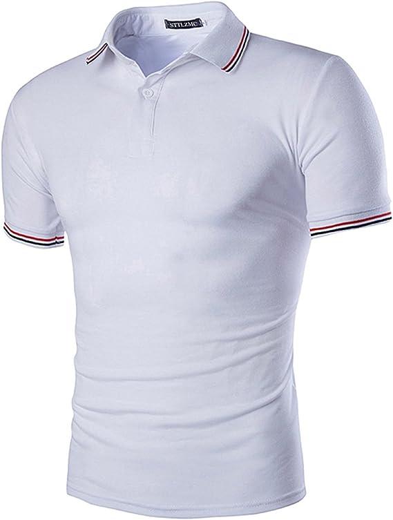STTLZMC Polo para Hombre Casual botón Collar Camisa Golf Tenis ...