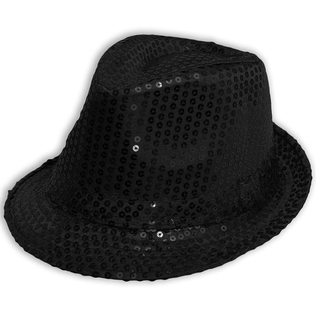 Rimi Hanger Unisex Sequin Sparkle Trilby Hat Fedora MJ Fancy Hen Party Gangster Jazz Black Sequin