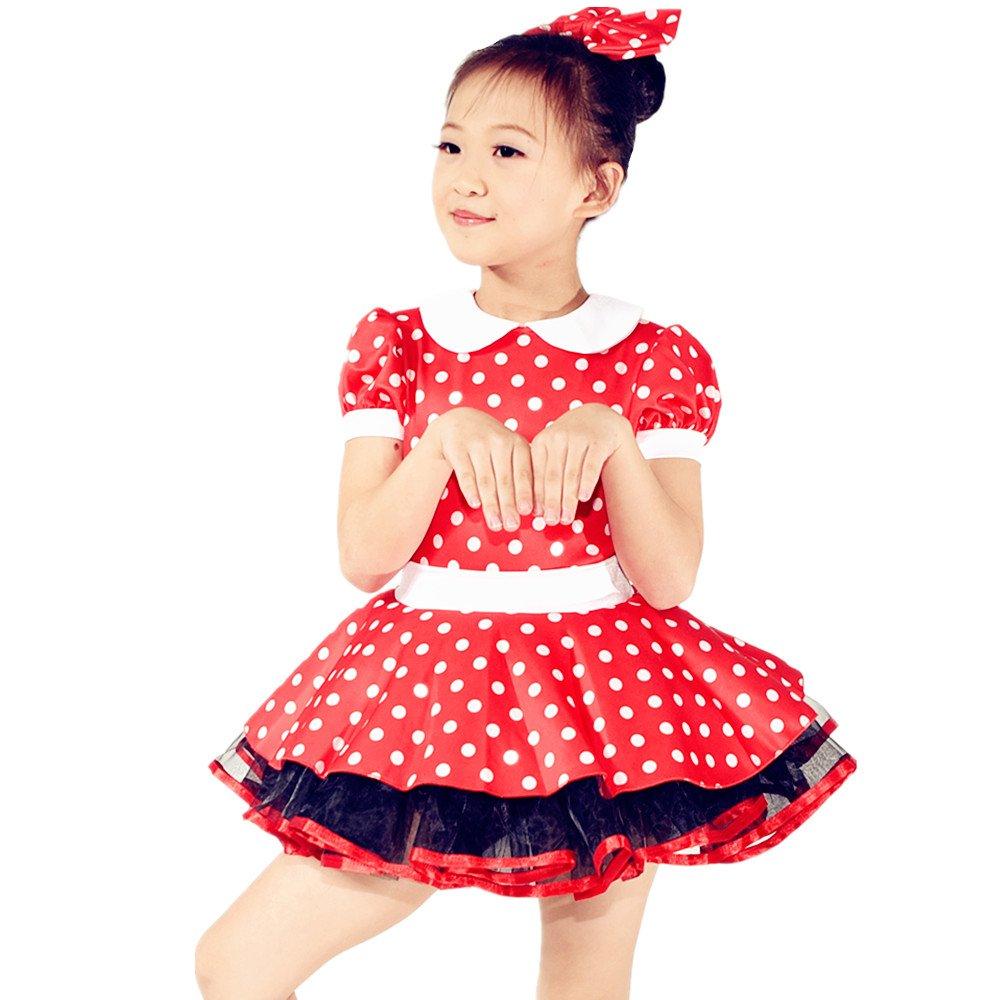 Mideeバレエチュチュダンスドレスコスチューム水玉Minnie文字Clothes for Girls B01N1FX1OC レッド MC