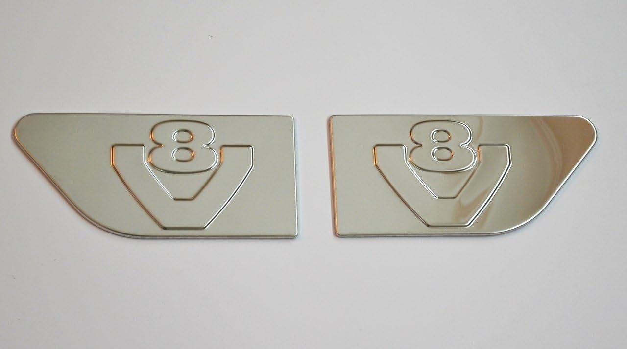 2x Accesorio decorativo para los lados derecho e izquierdo de Scania R V8 de acero inoxidable