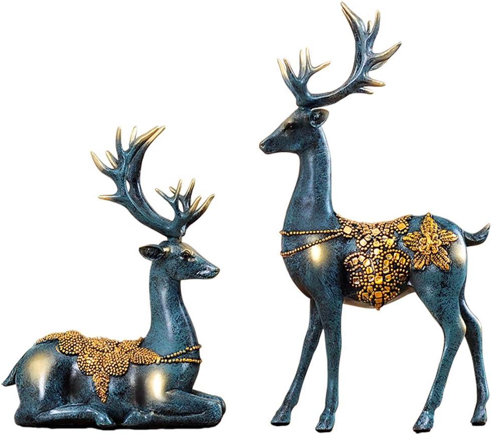 Tovip 2 Pcs/Pair Resin Deer Statue Figurine Animal Ornament Wedding Gift Home Decor Crafts Creative Office Livingroom Figurines