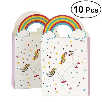 LUOEM 10 Unids Unicornio Caja de Dulces de Papel de Arco Iris de Boda Delicadas Cajas
