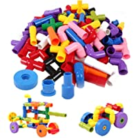 Metro Toy's & Gift Colourful Creative Educational Construction Plastic Water Pipe Shaped Building Blocks Toy for Kids (Assorted Colour)