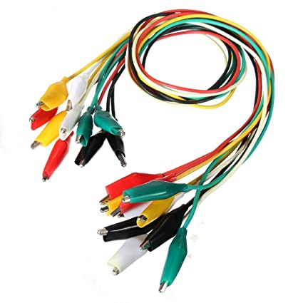TOOGOO 10pcs Crocodile Clips Test Leads in 5 Colors Each Wire Length 50CM R