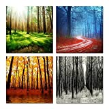 Hello Artwork - 4 Seasons Modern Landscape Gallery Wrapped Canvas Forest Framed Canvas Print Wall Art Home Decoration Ready to Hang (12''x12''x4pcs/set)