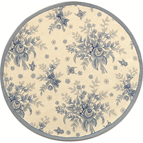 Safavieh Chelsea Collection HK250A Hand-Hooked Ivory and Blue Premium Wool Round Area Rug (3' Diameter) ()