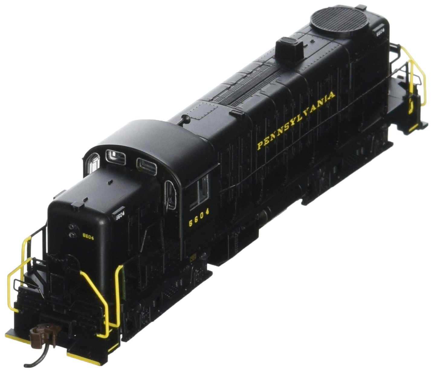 Bachmann Industries Alco RS-3 Locomotive PRR 5604 (Black with Yellow Lettering) N Scale - DCC on Board