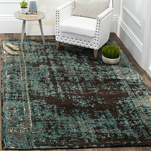 (Safavieh Classic Vintage Collection CLV225A Teal and Brown Area Rug (3' x 5'))