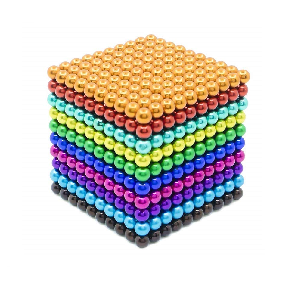 JTianYun Magnetic Cube 1000 Pieces 5 mm Silver Magnets Cube Magnets Block Puzzle Format Magnetic Holders Square Cube Children's Puzzle Magic Cube Toys (Rainbow)