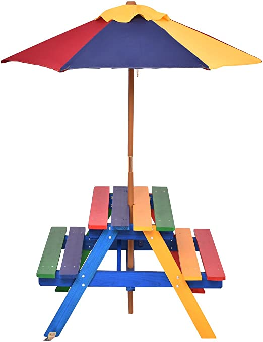 Mobili Da Giardino Per Bambini.Gymax Tavolo Da Picnic Per Bambini In Legno Con Ombrellone In Arcobaleno Set Di Mobili Da Giardino Amazon It Giardino E Giardinaggio