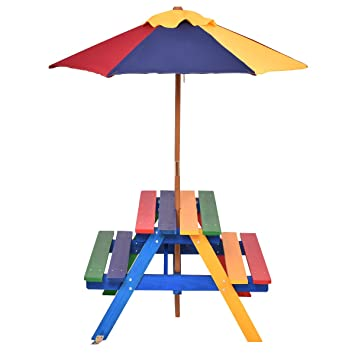 GYMAX Kids Wooden Picnic Table Bench With Parasol In Rainbow Garden - Picnic table parasol