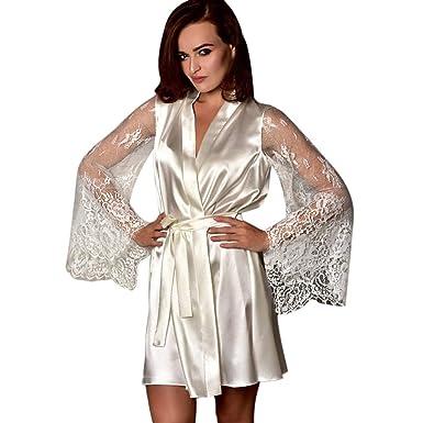 a7349e37955 POachers Luxe Peignoir Satin Robe de Chambre Kimono en Dentelle Col-V Sexy  Chemise de