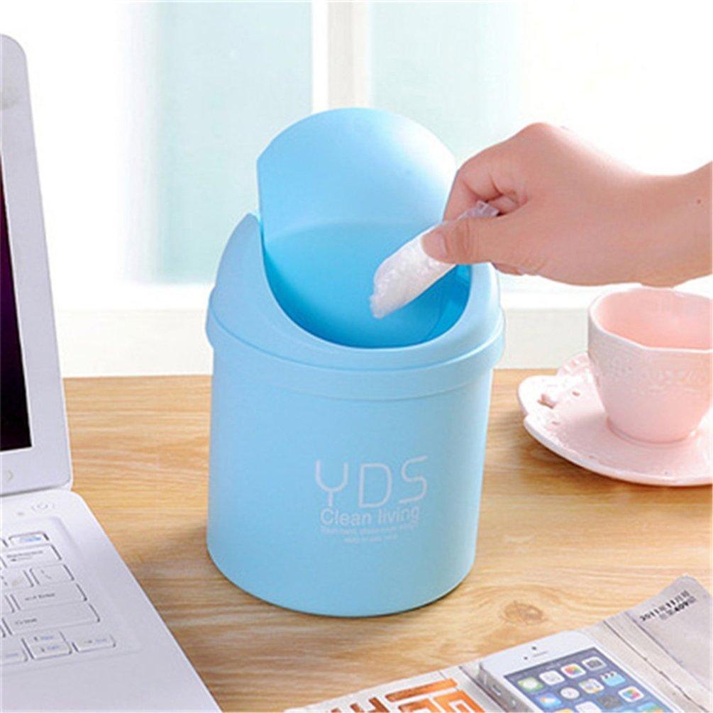 Zhouba Creative Desktop Mini poubelle recouvert de cuisine Salon Bureau Trash Box Taille unique blanc