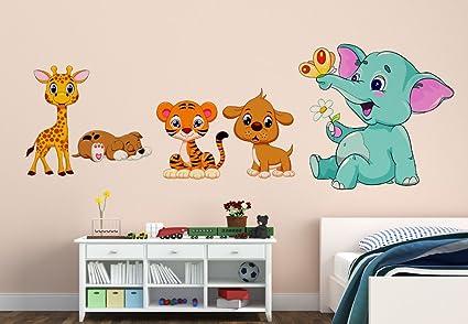 Orange And Orchid Animal Cartoon Wall Sticker For Baby Room( Pvc Vinyl, 130 Cm X 45 Cm)