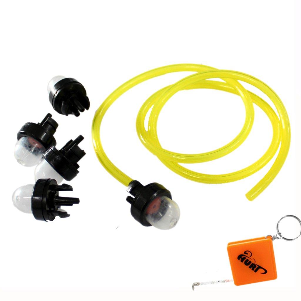 HURI 5 Snap In Primer Bulb + Fuel Line Pipe For Walbro 188-512 188-512-1 188512 WT-23A WYJ-33 WYJ-34 WYJ-45 WYJ92 WYJ-94 WYJ-86 Ryobi 791-683974 B 683974 Replace Stens 615-764