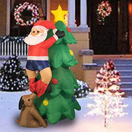 sunlit 5ft lighted airblown christmas tree with dog and climbing santa inflatable yard decoration with blower