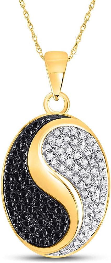 Colgante de oro amarillo de 10 quilates para mujer, redondo, color negro, con diamante ovalado, Yin Yang, 1/3