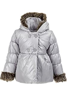 a1115837 Minoti Designer Baby & Toddler Girls Quilted Shimmer Puffa Coat with Hood  ...