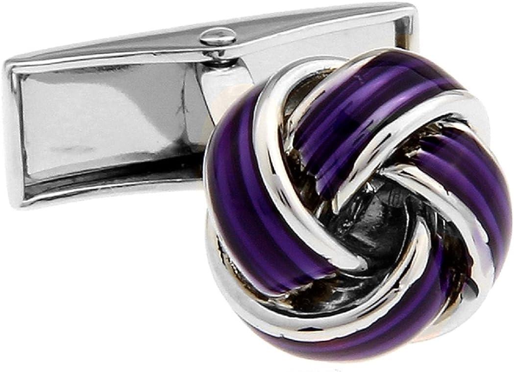 MRCUFF Knot Purple Pair Cufflinks in a Presentation Gift Box & Polishing Cloth