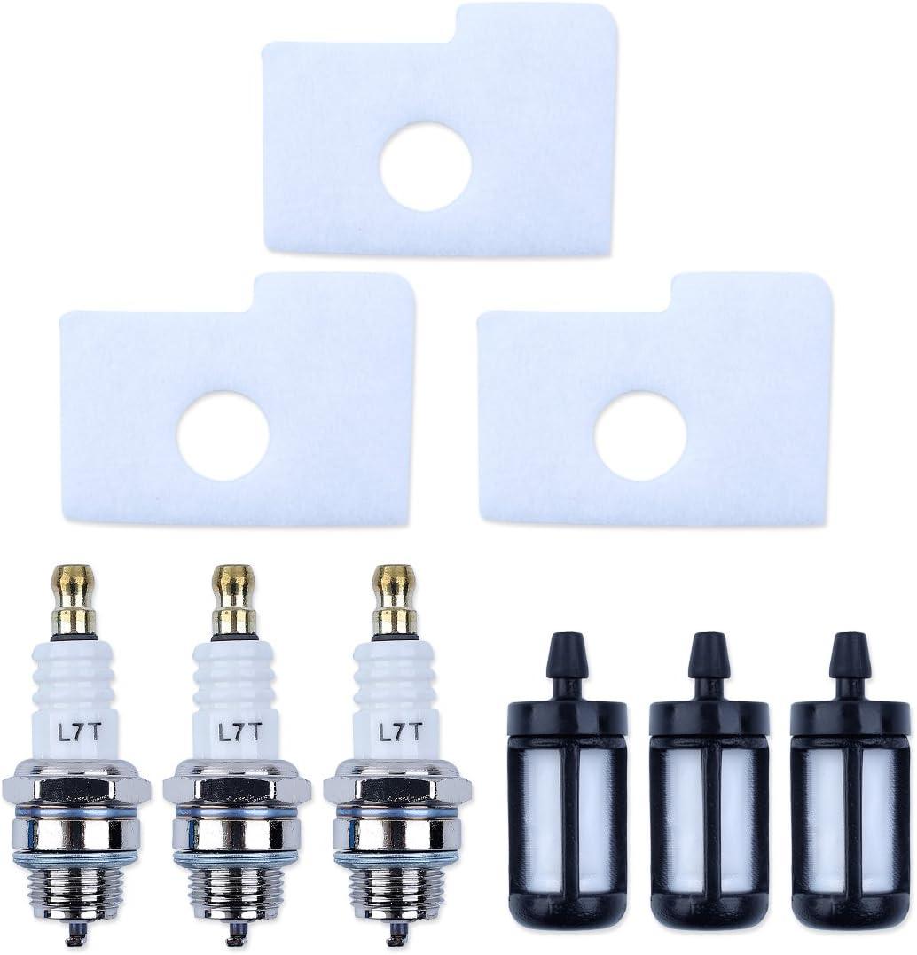Haishine 3 x Kraftstofffilter Z/ündkerzen-Kit f/ür STIHL 018 MS180 MS 180 Kettens/äge Ersetzen Sie die neuen Teile # 1130 124 0800