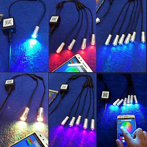 Rayauto 3mm 1 to 6 Light Source Head 12V 1.5W APP Bluetooth WiFi Phone Control RGB Atmosphere LED Light Source Engine Illuminator for Side Glow Optic Fiber by Rayauto (Image #2)