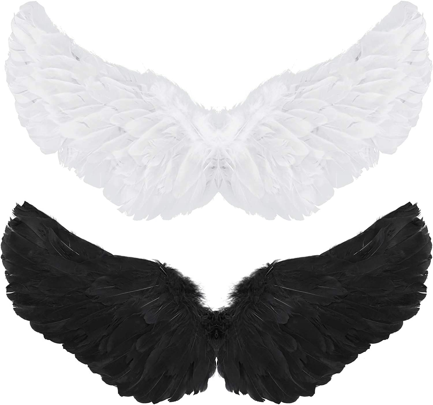 2 Pieces Angel Wings Feather Wings with Elastic Straps Halloween Costume Wings for Women Girls Cosplay (White, Black)