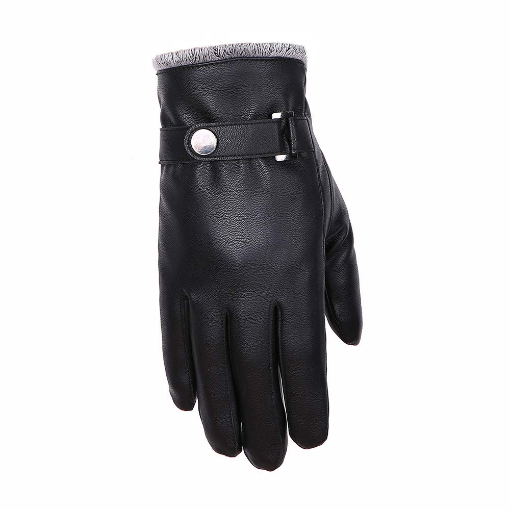 Black Gloves Leather Men,Quaanti Mens Windproof Waterproof Bicycle Leather Slip Plus Velvet Thickening Gloves Driving Gloves and Warm in Winter