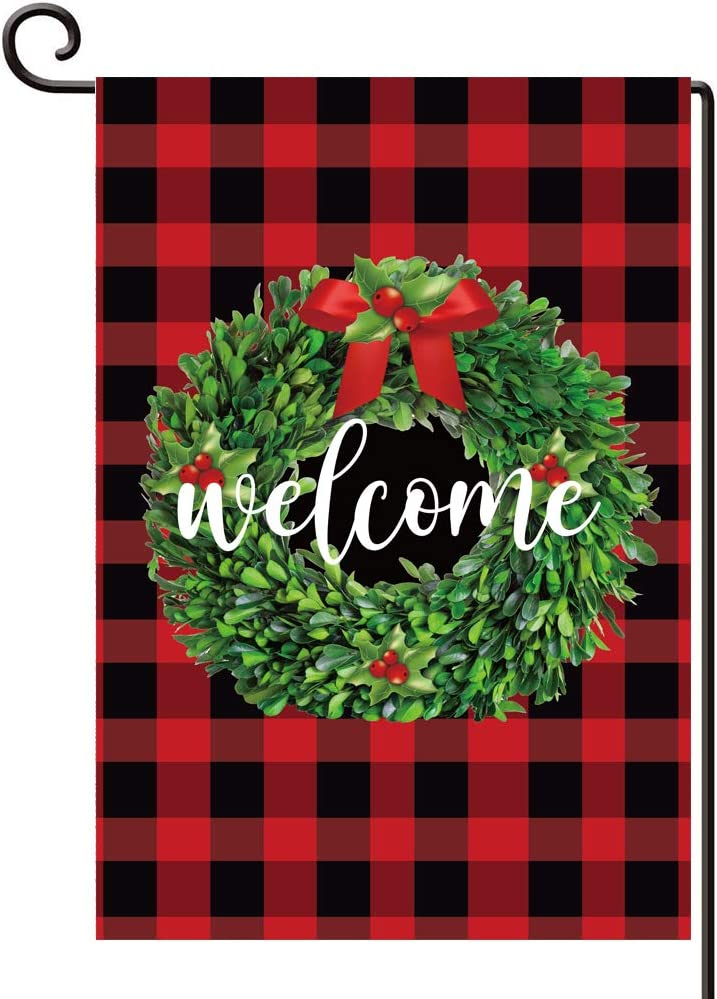 Disheen Buffalo Plaid Christmas Wreath Garden Flags 12 X 18 Double Sided, Welcome Yard Flag for Christmas Winter, Christmas Decorations Clearance Outdoor