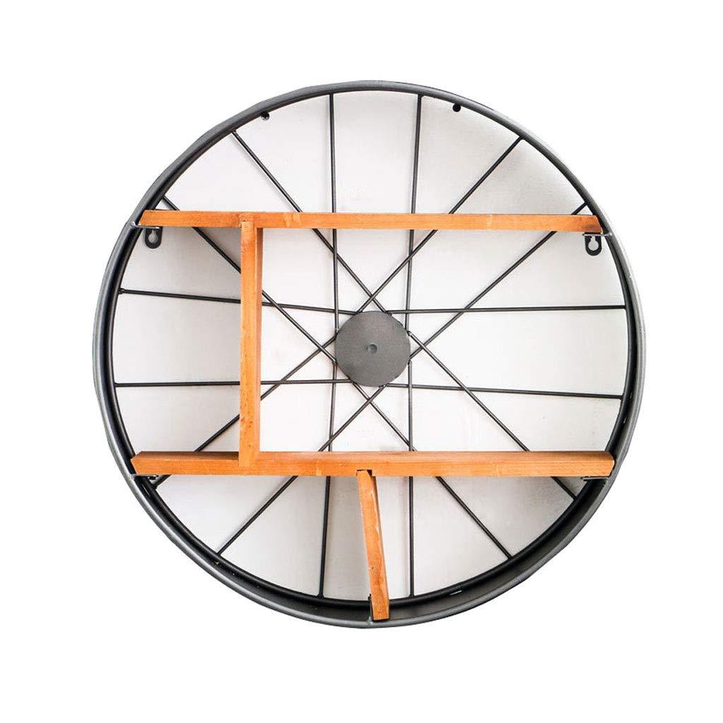 LDG 円形 ユニッ ウォールシェルフ、レトロスタイル 金属 ウォール ラック 壁掛けシェルフ 壁掛け棚 ディスプレイラック 52 * 12.5 * 52 Cm-ブラック B07RXMV5CN
