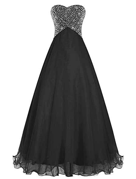 CutieTell Long Chiffon Prom Dress Evening Gown Crystal Beaded Black US2