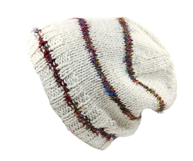 Rising Int l Nepal Hand Knit Wool Beanie with Recycled Silk at ... d3d3e19795f