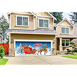 Victory Corps Outdoor Christmas Holiday Garage Door Banner Cover Mural Décoration 7'x16' - Santa's Sleigh Ride - Outdoor Christmas Holiday Garage Door Banner Décor Sign 7'x16'