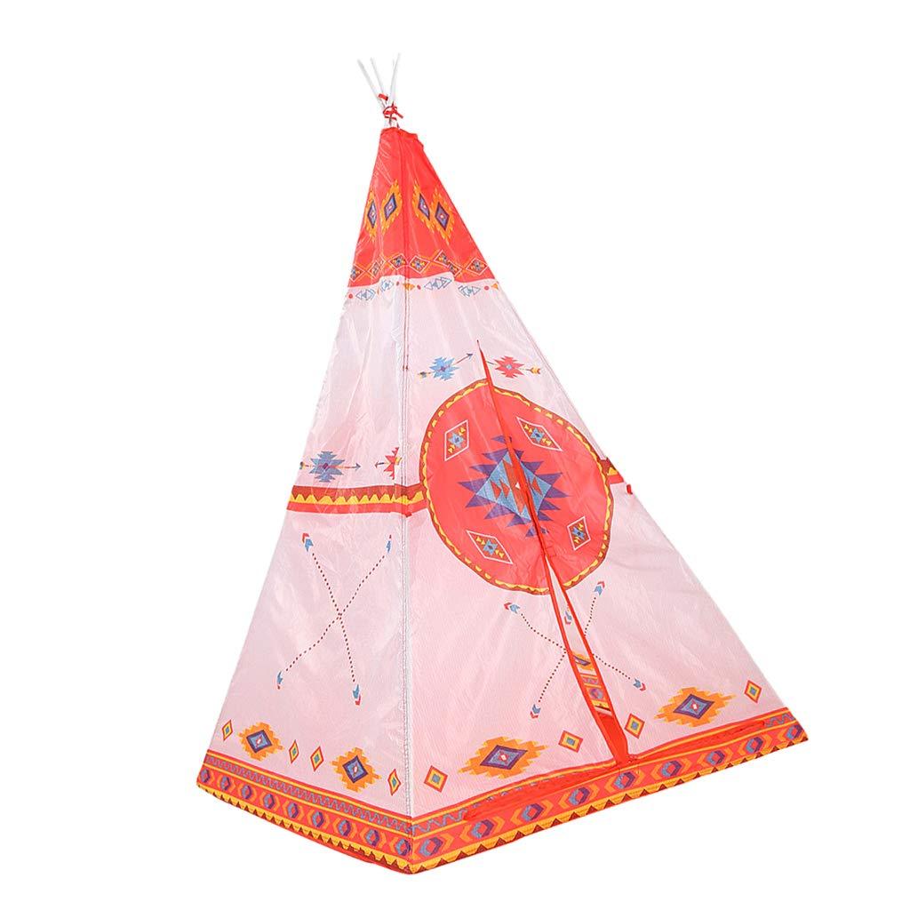 Baoblaze 子供用 折りたたみ式 インディアンプレイテント オレンジ ティーピー プレイハウス テント 男の子 女の子用 B07G5HWPFH