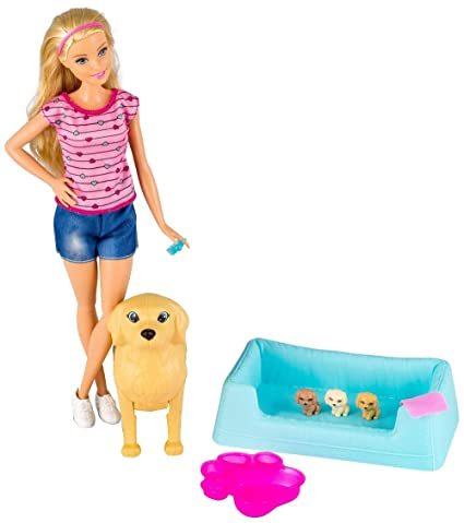 Amazoncom Barbie Newborn Pups Doll And Pets Toys Games