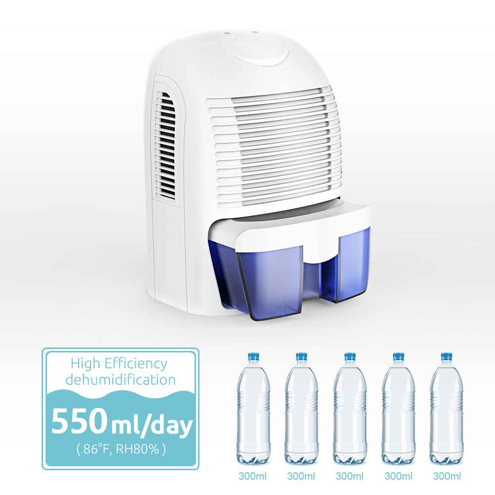 Hysure 1500ml Dehumidifier, 2200 Cubic Feet, Compact and Portable for Damp Air, Mold, Moisture in Home, Kitchen, Bedroom, Basement, Caravan, Office, Garage by Hysure (Image #3)