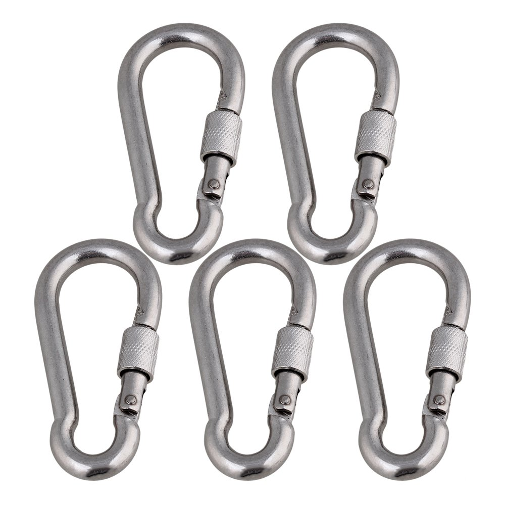Mxfans 5 Pieces 304 Stainless Steel Quick Link Chain Carabiner Rope Cable Connector M8
