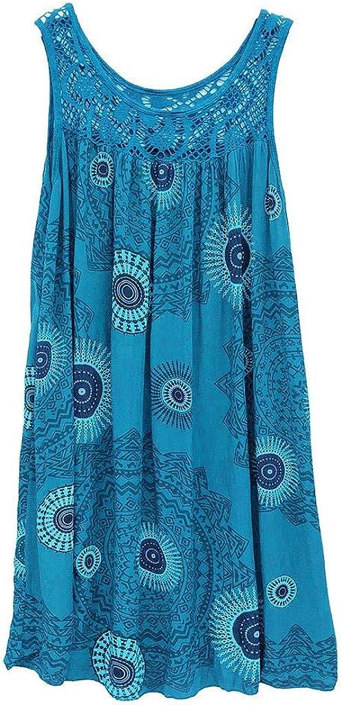 Womens Shift Dress Fashion Round Neck Lace Patchwork Print Sleeveless Dress Casual Loose Tunic Tank Dress