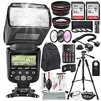 Image of Accessory Bundles 58MM 2.2X Telephoto & 0.43X Wide Angle HD w/SLR AF Power Zoom Flash & Xpix Cleaning Accessories + Professional kit for Canon Rebel (T6s T6i T6 T5i T4i T3i T3), EOS (700D 650D 600D 1100D 550D 500D)