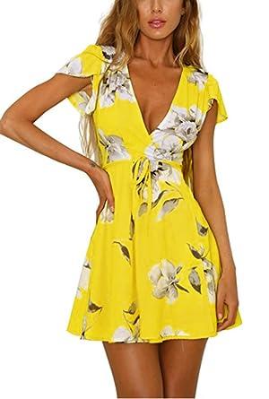 e570c2731537 Vaniglia Women Floral Printed Short Sleeve Sexy Deep V-Neck Tunic Top Mini  Casual Dress