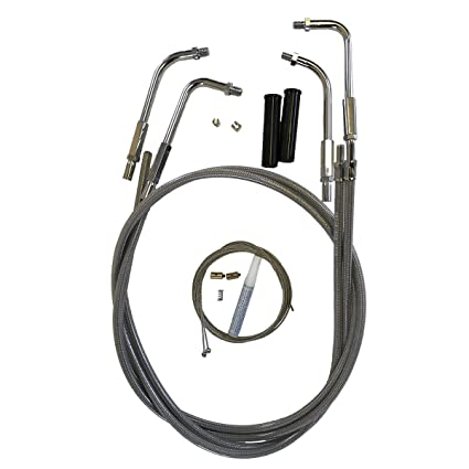 Venhill U01-4-405 Harley-Davidson V-Twin Motorcycle Braided Throttle and  Idle Cable Kit (Two Cables, Threaded Bends)