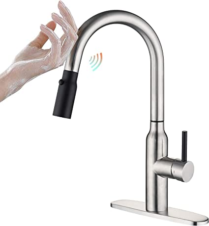 Touch Kitchen Faucet With Pull Down Sprayer Crea Single Handle Smart Kitchen Sink Faucets With Pull Out Sprayer Stainless Steel Touch Activated Faucet Brushed Nickel