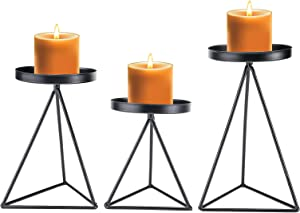 Patioer Candle Holder for Home Decor Candle Stand for Pillar Candle Metal Geometric Candlesticks Set of 3, Iron Candle Holder Table Centerpiece (Black)