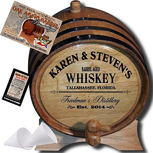 Personalized American Oak Whiskey Aging Barrel (063) - Custom Engraved Barrel From Skeeter's Reserve Outlaw Gear - MADE BY American Oak Barrel - (Natural Oak, Black Hoops)