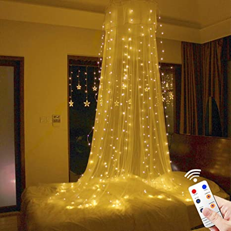 tofu led window curtain string light 8 modes remote 300led 98ft98ft bed - Indoor Window Christmas Decorations