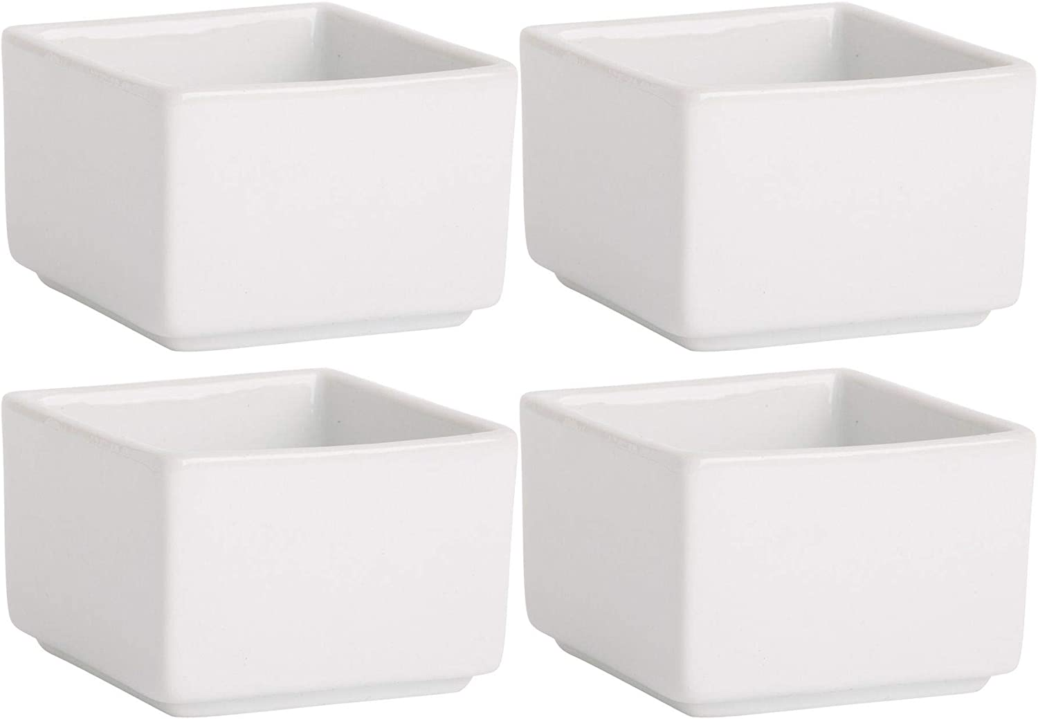 Home Essentials 15247 Fiddle and Fern Square Mini Taster Bowls, Set of 4, 4-inch Height, White