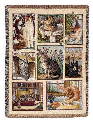 """Throws - """"Curious Cats"""" Tapestry Throw Blanket - 47"""" x 60"""" - Tabby Cat - Black Cat from KensingtonRow Home Collection"""