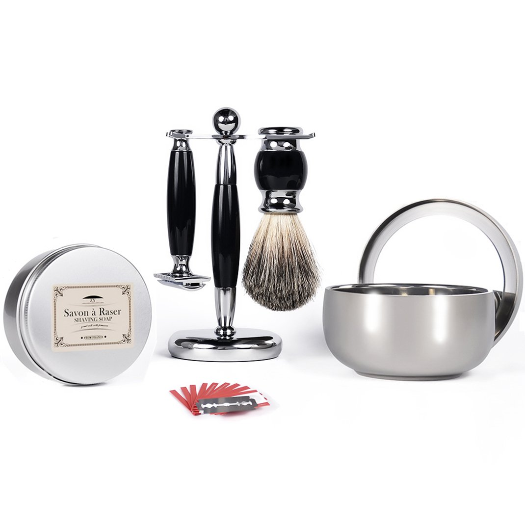 Coocare Shaving & Grooming Sets - Including Badger Hair Shaving Brush,Safety Double-Sided Razor,Razor Stand,Shaving Soap,Bowl with Mirror,10 Replacement Blades