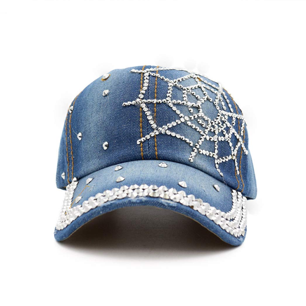 Women Men Denim Snapback Cap Rhinestone Cross Fitted Baseball Caps Hats Adjustable Hip Hop Hats